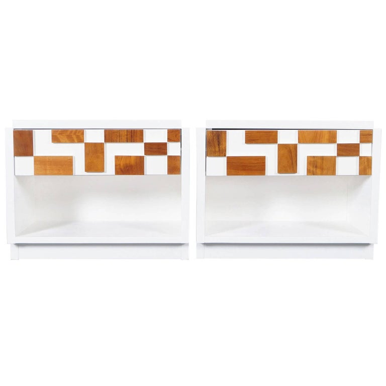 Brutalist Mosaic Nightstands by Lane For Sale