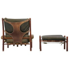 Arne Norell Easy Chair and Ottoman Model Inca 1960s, Sweden, Danish