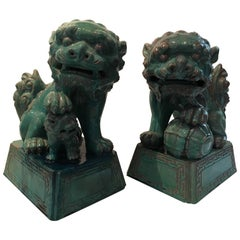 Striking Large Pair of Turquoise Chinese Foo Dogs