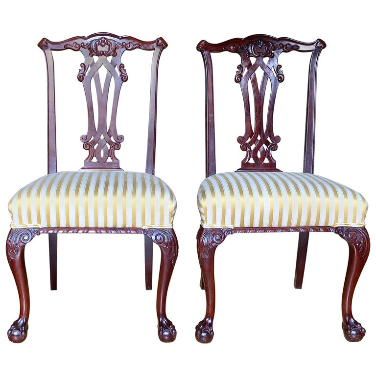 19th Century Danish Chippendale Style Side Chairs