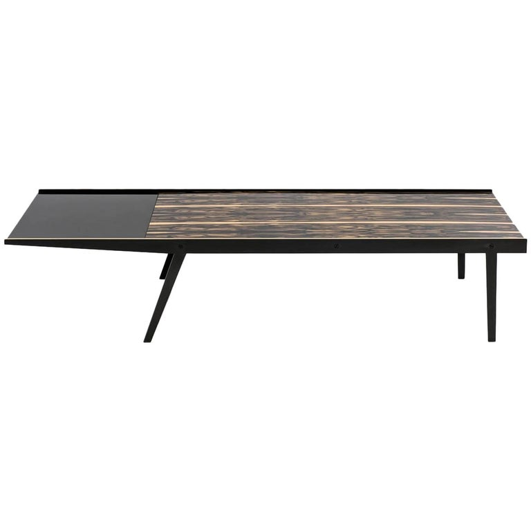Viloria Coffee Table with White Ebony Veneer, Black Glass on Bronze Base