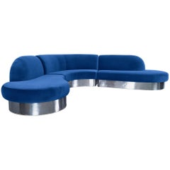 Vintage Chrome Curved Sectional Sofa by Milo Baughman
