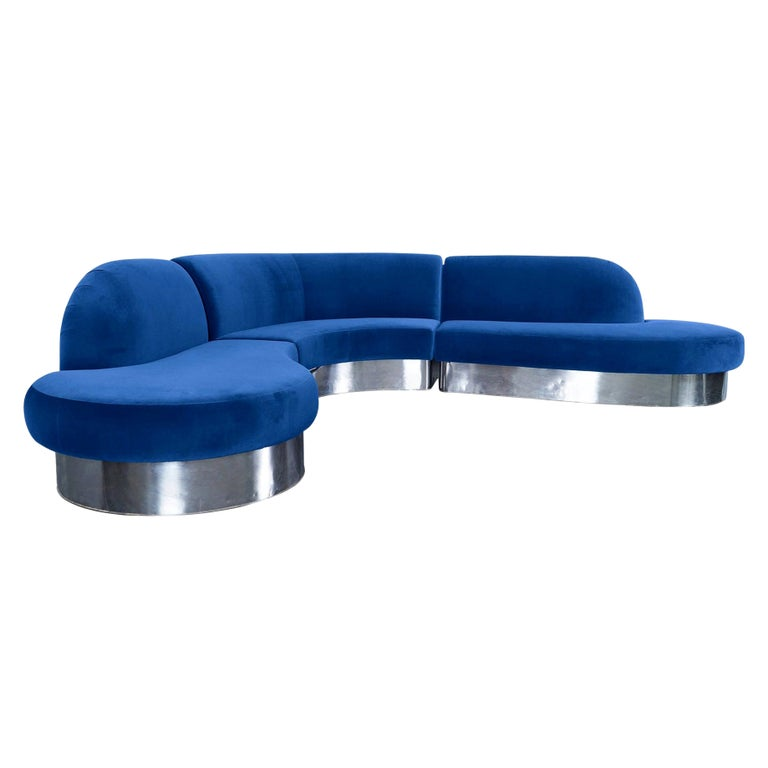 Vintage Chrome Curved Sectional Sofa by Milo Baughman for Thayer Coggin For Sale