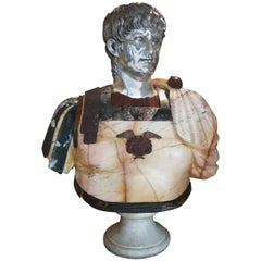 Italian Roman Marble Bust of Emperor Nero in Specimen Marble and Bronze Head