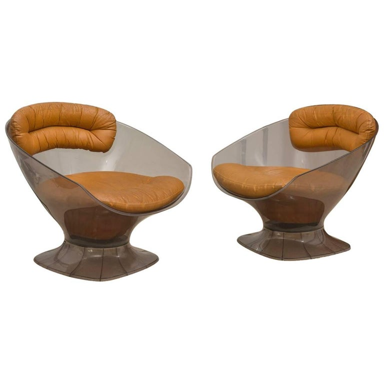 Maison Raphael Pair of Lucite and Leather Lounge Chairs