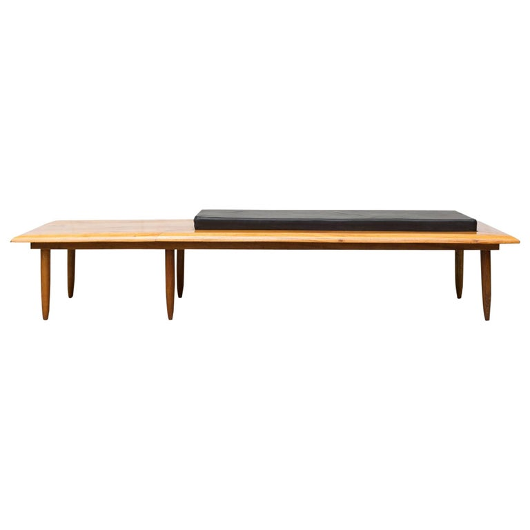 George Nelson Style Solid Teak Bench with Cushion 1