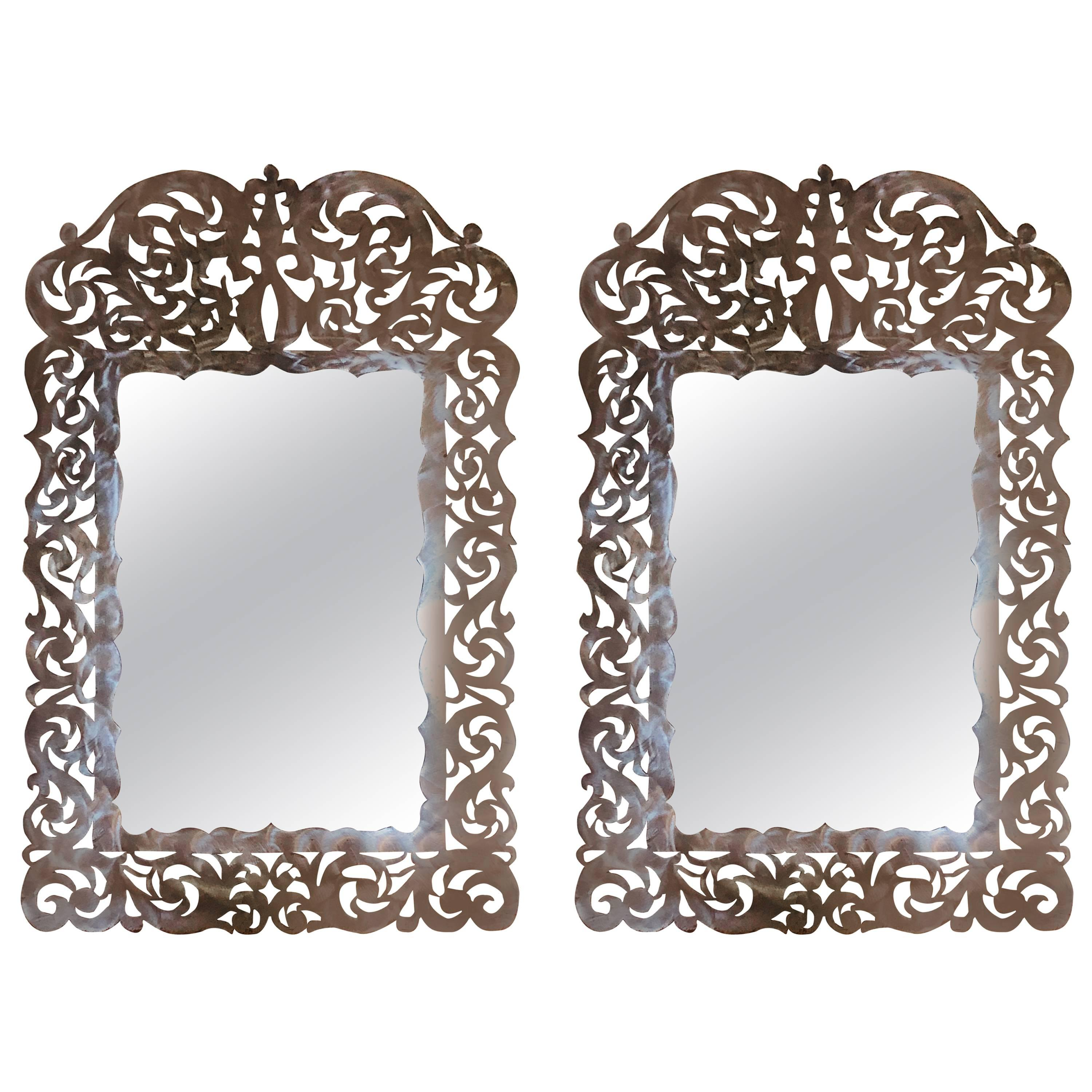 Paul Evans Style Pair of Brutalist Steel Cut Handmade Wall or Console Mirrors