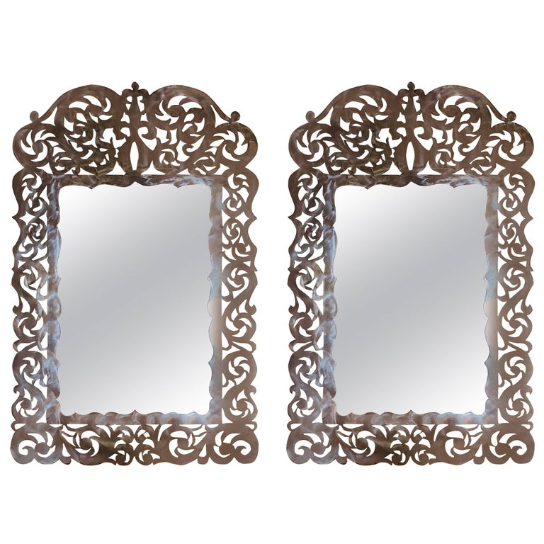 Paul Evans Style Pair of Brutalist Steel Cut Handmade Wall or Console Mirrors For Sale