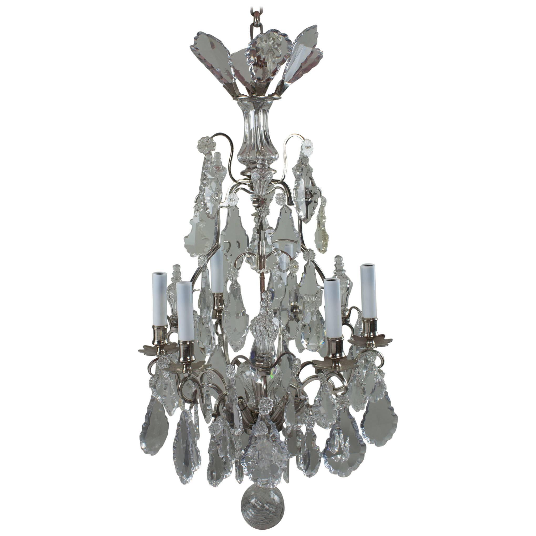 19th Century Nine Light Crystal Chandelier Six Light Arms