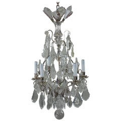 19th Century Nine-Light Crystal Chandelier Six-Light Arms Three Inner Lights