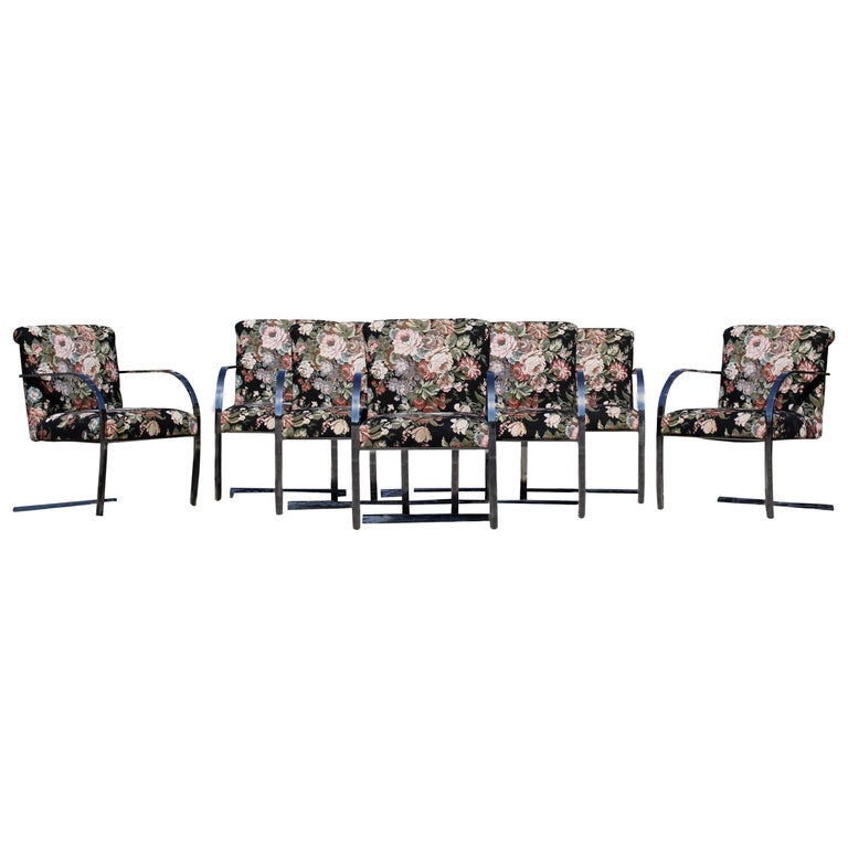 Mid-Century Modern Set Eight Chrome Cantilever Dining Armchairs Knoll Attributed