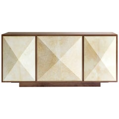 Contemporary 'Pyramid' Sideboard Credenza with Parchment and Brass by Konekt