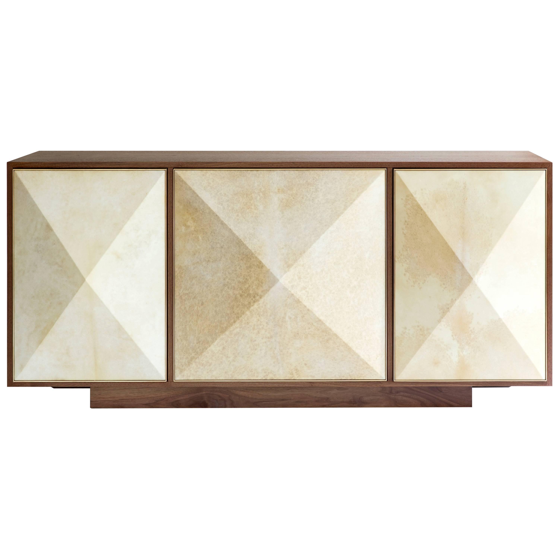 Contemporary U0027Pyramidu0027 Sideboard With Walnut, Parchment And Brass By Konekt  ...