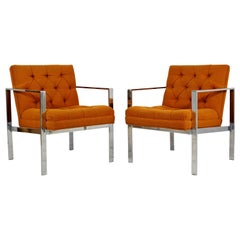 Mid-Century Modern Pair of Tufted Flat Bar Chrome Armchairs Milo Baughman, 1970s