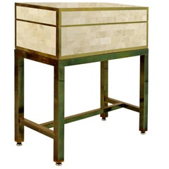 Contemporary Tessellated Stone Box Side Table on Brass Base, Maitland-Smith
