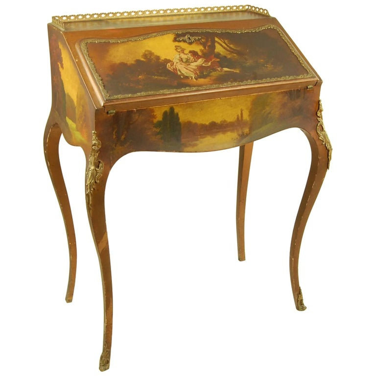 Late 19th Century Antique Writing Desk with Painted Scene Fabric Lined For  Sale - Late 19th Century Antique Writing Desk With Painted Scene Fabric