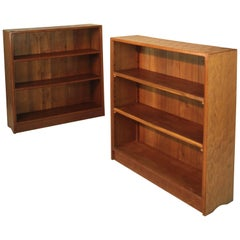 Alan 'Acornman' Grainger Pair of Arts & Crafts Adzed Oak Open Bookcases