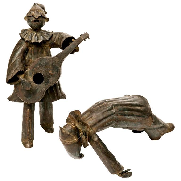1950s Italian Commedia dell'arte Metal Sculptures