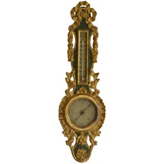 Louis XVI Giltwood Barometer and Thermometer