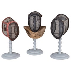 Set of Three Antique French Fencing Masks, circa 1910 Each on a Stand