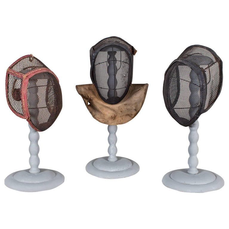 Set of Three Antique French Fencing Masks, circa 1910 Each on a Stand For Sale
