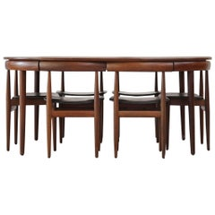 Set of Danish Dining Table with Six Chairs Hans Olsen Model Roundette