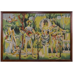 Vintage French Tapestry Neoclassical Scene of Figures circa 1960 Original Frame