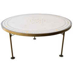 Berthold Muller Round Mosaic and brass Coffee Table, Germany, 1960s