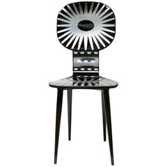 Fornasetti Raggiera Chair, Silver and Black