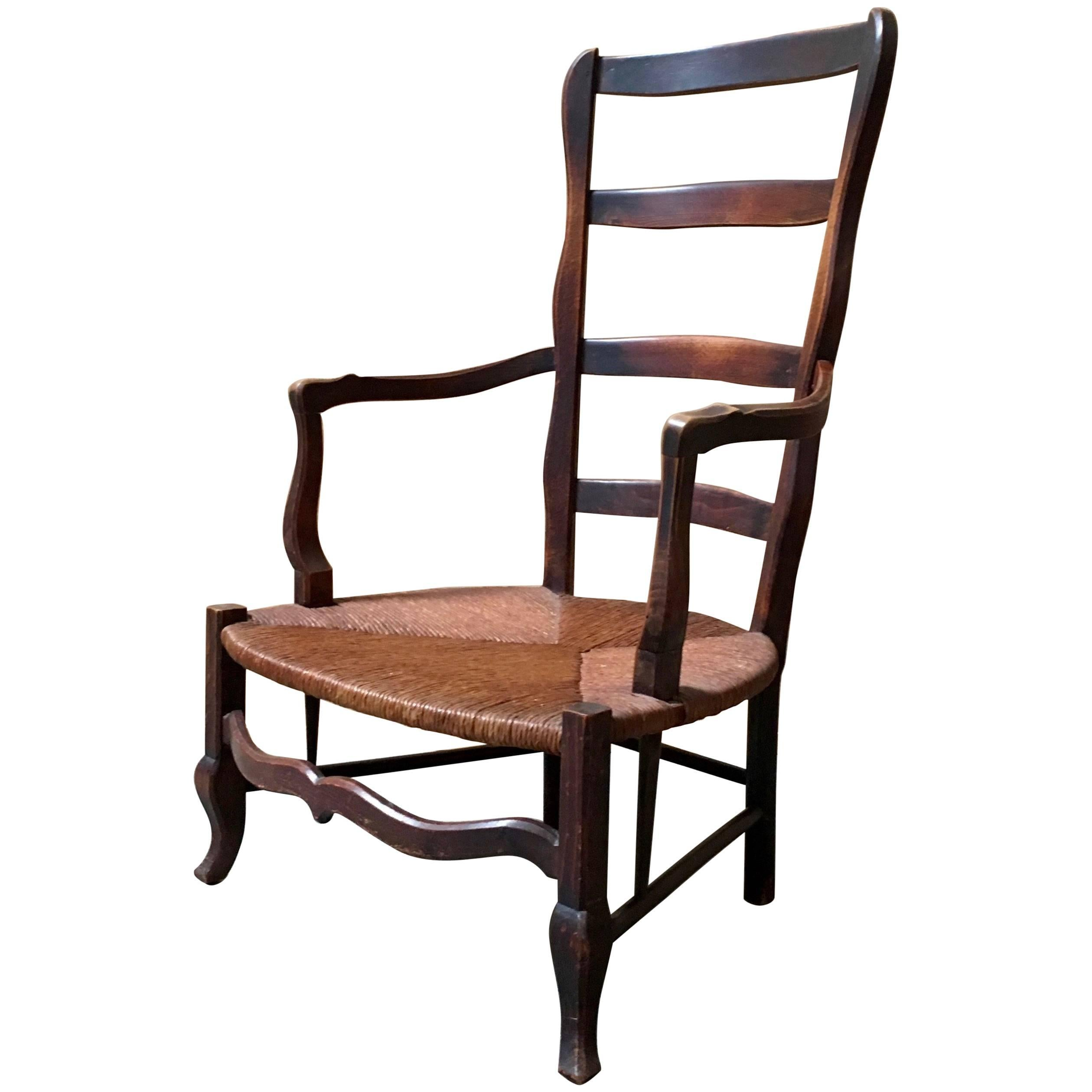Rustic Country French Fireside Chair For Sale