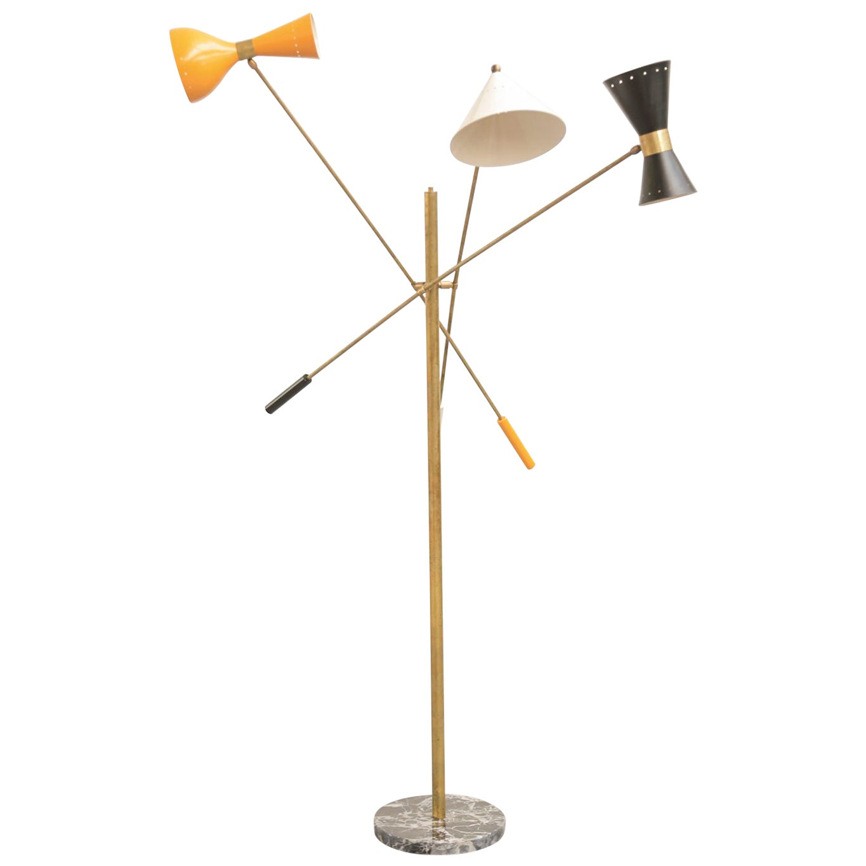 Italian Floor Lamp in the Style of Angelo Lelli Pendulum