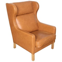 Camel Leather Wingback Lounge Chair by Børge Mogensen for Skalma Denmark