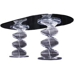 Double Spiral Lucite Pedestal Dining Table With Glass Top