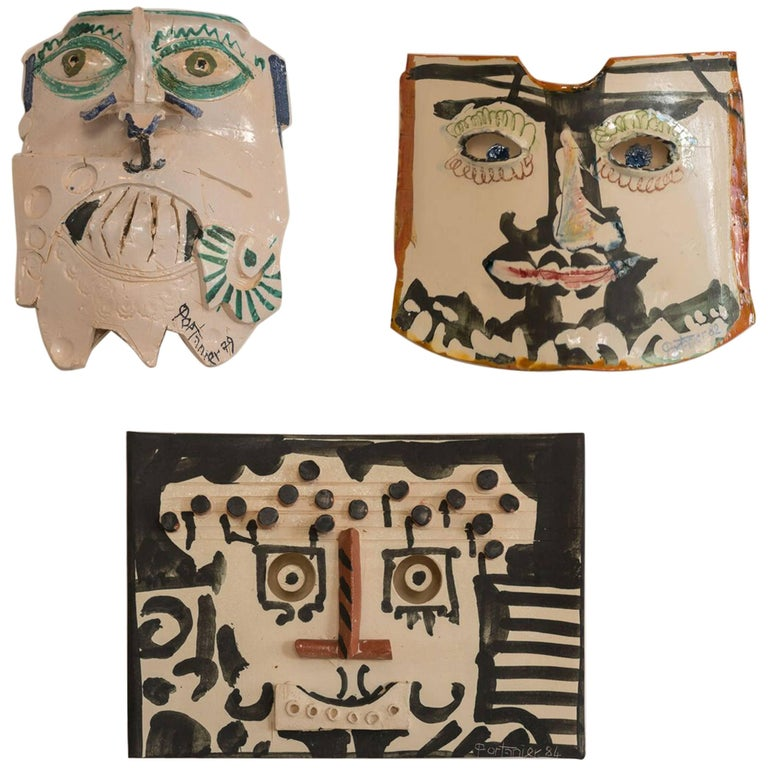 Gilbert Portanier Set of Three Wall-Mounted Ceramic Masks For Sale