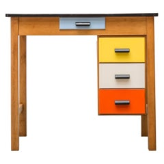 Pastoe Style Multicolored Drawer Desk