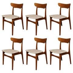 Six Schionning & Elgaard Danish Teak Dining Chairs