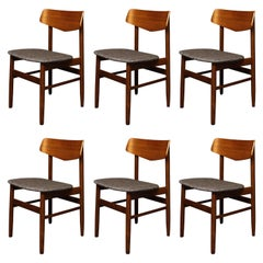 Six Danish Teak Dining Chairs
