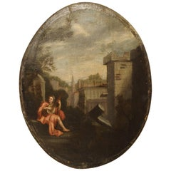 18th Century, French Oval Painting on Wooden Backing