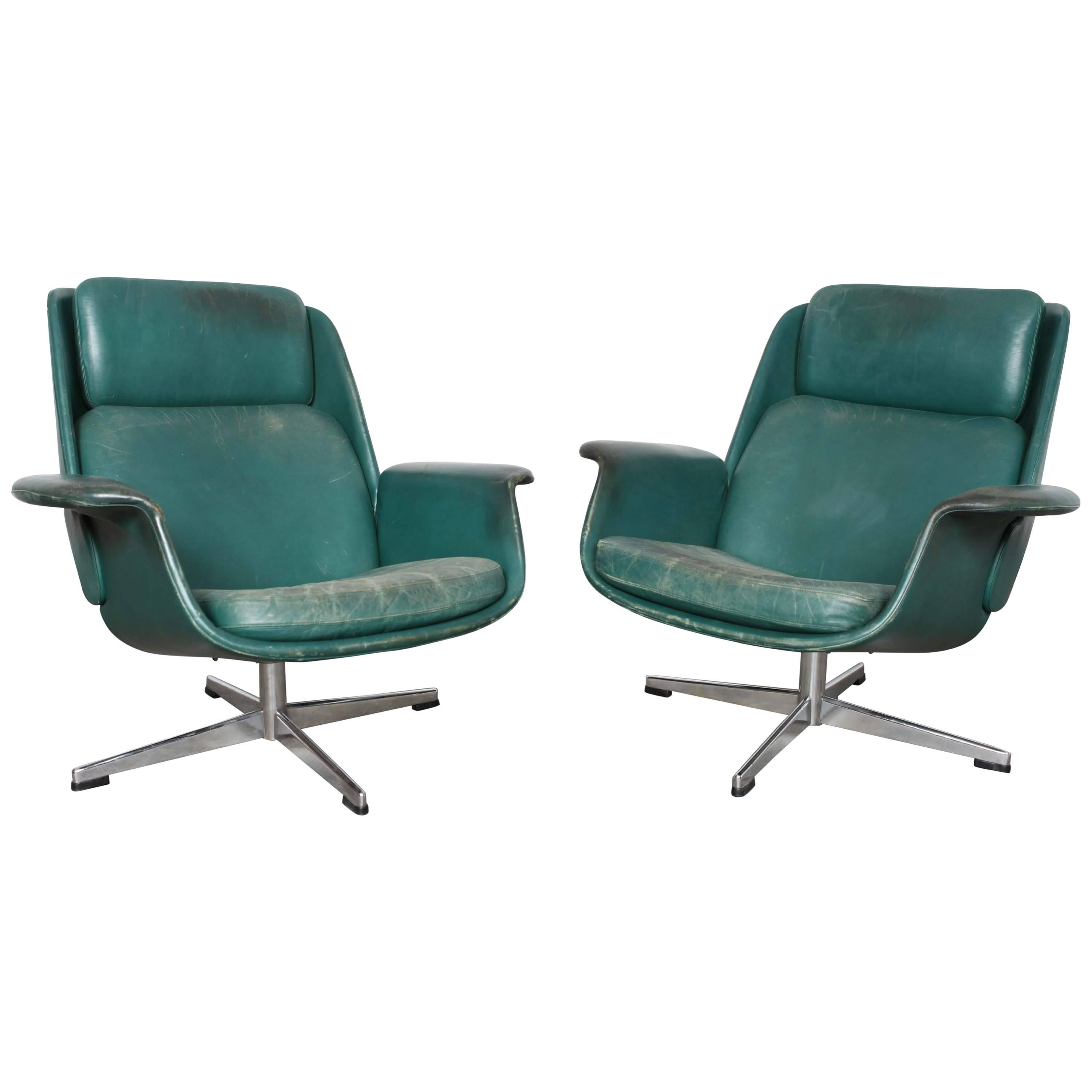 Danish Midcentury Green Leather Swivel Lounge Chairs For Sale