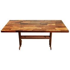 Jacaranda Rosewood Patchwork Trestle Dining Table, Brazil, circa 1970