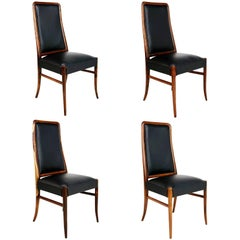 Exotic Jacaranda and Black Leather Dining Chairs, Set of Four, Brazil Circa 1970