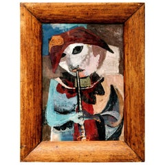 Folk Art Painting of a Musician