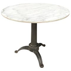 Round Marble and Cast Iron Pedestal Café Dining Table
