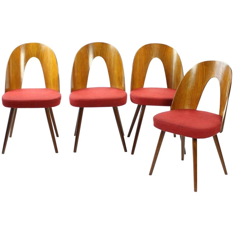 1960s Four Tatra Chairs by Antonin Suman in Original Upholstery, Czechoslovakia