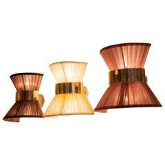 Tiffany Wall Bow Lamp Silk Ivory Organdy Shade Silvered Glass Sabrina Landini