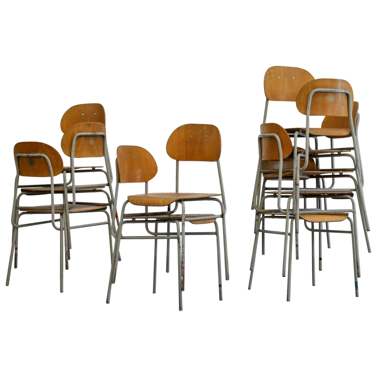 Set of Ten Czech Republic Chairs 1960s, Midcentury Collectivity, Dining
