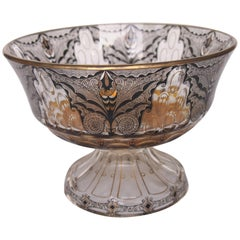 Art Nouveau Butterfly Bowl by Adolf Beckert from the Steinschönau School