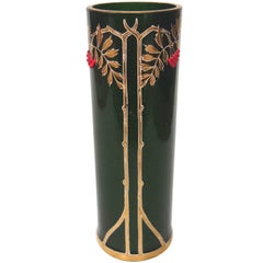 Art Nouveau Green Aventurine Riedel Vase with Applied Red Beads