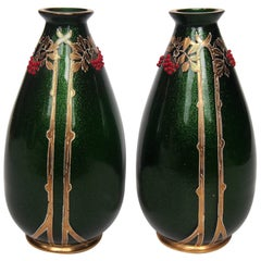 Pair of Art Nouveau Riedel Green Aventurine Vases with Red Beads