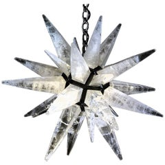 Rock Crystal Black Star Chandelier by Alexandre Vossion